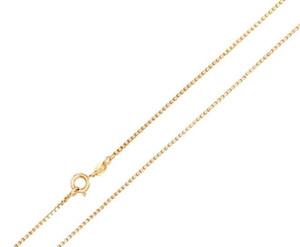 """Cadena de collar de caja de oro amarillo de 1MM para mujer, tamaño de cadena de 16 """"-22"""""""