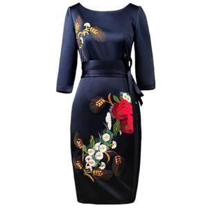 ZAWFL (kaliteli) 2017 bahar yeni kadın moda antik nakış kadın elbise Pist elbise