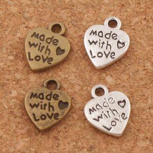 Gemacht mit Liebe Herz Charm Perlen Anhänger MIC 9.7x12.5mm Antik Silber / Bronze Modeschmuck DIY L319