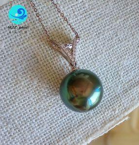 grande verde pavone Tahiti fuori ciondolo cuore collana di perle 13-14mm rotonda per gioielli da sposa