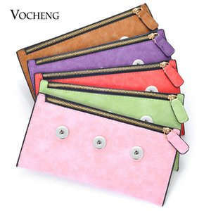 VOCHENG NOOSA Ginger Snap Jewelry PU Material Snap Button Jewelry Findings for 18mm Snap Charms 8 Colors NN-630