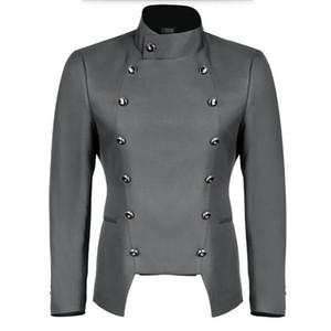 Grey men suits jacket mandarin collar double breasted bridegroom tuxedos jacket solid color wedding groomsman suits jacket