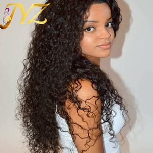 Pelucas delanteras del cordón de calidad superior brasileño malasio peruano 130% densidad suizo encaje rizado pelucas llenas del cordón pelo rizado profundo