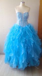 Beaded Organza Ball Gown Sweetheart Quinceanera Dress With Ruffles Elegant Prom Dress Lace Up Real Photo