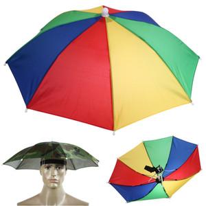55cm 새로운 스타일 휴대용 우산 모자 태양 그늘 캠핑 낚시 하이킹 축제 야외 우산 모자 모자