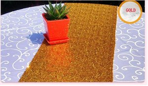 30*180cm Fabric Table Runner Gold Silver 8 Color Sequin Table Cloth Sparkly Bling Plain Decoration Products Supplies Eco-Friendly