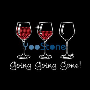 Three Going Going Going Wine Rhinestone Transfer Iron On Hot Fix Applique