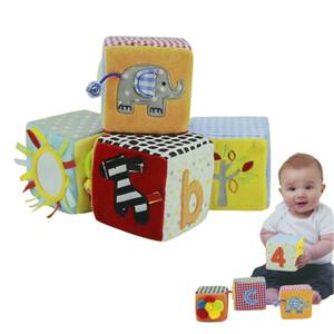 Yeni Bebek Blokları Oyuncak 8.5 cm Yumuşak Oyun Küpleri Bez Peluş Yapı Taşları Erken Eğitici Oyuncak Renkli Bebek Çıngıraklar Set