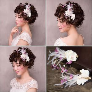 Женщина головной убор волосы Ломень невеста элегантный мало перо головной убор цветок цветы свадебные аксессуары для волос шпилька 154106
