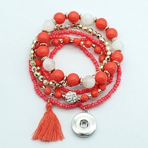 Nuevo Ab0058 Colorful Multi-Layers Beads Shambhala Bead Tassel Snap Bracelet Flexible Fit 18mm Snap Button Snap Jewelry