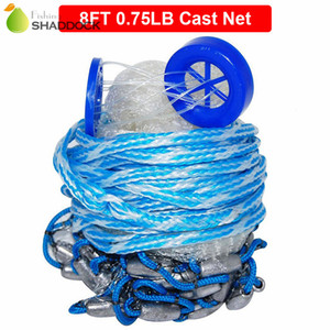 8 Feet Radius Fishing Cast Net Heavy Duty Real Lead Weights Hand Throwing Trap Net With Plastic Bucket