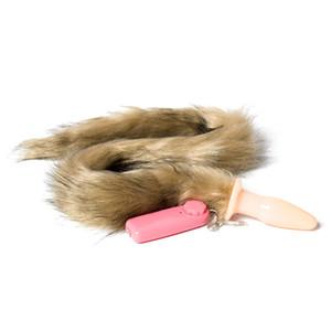 Fleshcolor Fox tail Juguetes adultos vibrantes plug anal para mujer Cuello trasero de silicona Productos sexuales de larga cola Pony Play Fetish Wear Gel de sílice