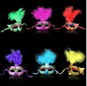 متعدد الألوان ريشة pvc الأميرة قناع مثير هالوين البندقية باوتا قناع نصف الوجه حزب الرقص قناع تنكر تأثيري ديكور