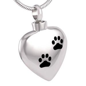 IJD8382 Joyería de Cremación Doble Corazón de Acero Inoxidable Pet / Dog Paw Imprime Urna Colgante Recuerdo Cremation Ashes Necklace