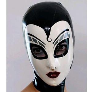 Nuevas mujeres femeninas drama hecho a mano Personalizado Latex Cosplay mucama Hoods empalmados enfermera Fetish Mask Heroine mask Headgear