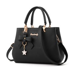7 colores bolsos de señora PU de cuero de gran capacidad pajaritas dulces ocio bolsos de hombro mujeres bolsos negros con cremallera