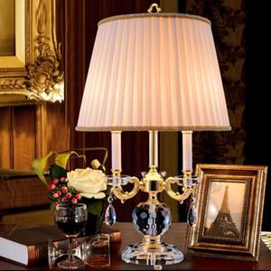 Quarto lâmpada de mesa de cabeceira de cristal Estudo estilo europeu estilo Nórdico modelo de luxo quarto lâmpadas decorativas villa fundo sofá luzes de canto