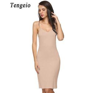 Tengeio 2017 Dames Femmes Sexy Strap Full Slips Long Underdress Sleeveless Plus Zize Moulante Bottoming Robe Droite Jupon Femm