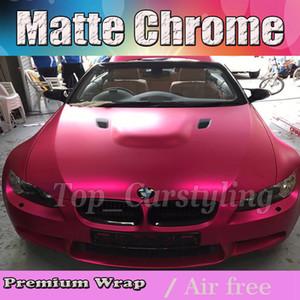 2017 Hot Pink Satin Chrome Wrap Vinyl Car Film com bolha de ar livre matt chrome Cobrindo styling gráficos tamanho 1.52x20m rolo