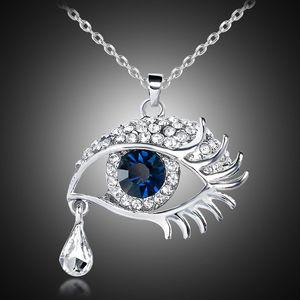 Romantik mavi kristal nazar tear drop gun siyah yılan zincir kazak kolye kolye Kadın hediye 162022