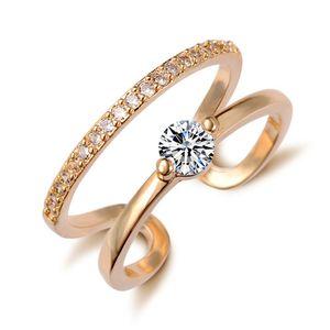 Anello d'argento di Zirconia di cristallo semplice aperto regolabile oro argento amante placcato anelli regalo di nozze per gli accessori dei monili delle donne all'ingrosso