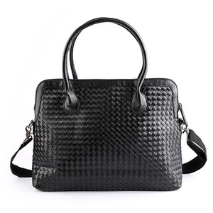 Wholesale- New Arrival Hand Woven Man Briefcase  Leather Travel Bag High Quality Fashion Designer Leisure Business Laptop Bags