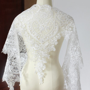 Sale by Yard 54 cm Wide white French bridal veil embroidery Lace Trim Wedding dress Lace party decoration with PVC Sequins