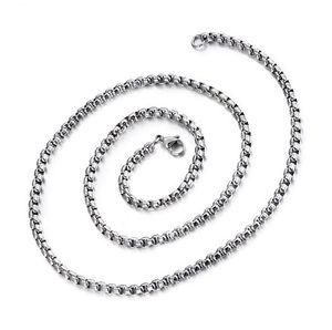 60-76cm lungo 4mm Wide Round Box color oro catena di perle titanio collana in acciaio Mens ragazzi donne catena di gioielli per ciondolo maglione