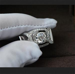 Роскошные 925 Серебряный кубический цирконий Алмаз имитация драгоценный камень кольца для мужчин старинные коктейль ювелирные изделия обручальное обручальное кольцо палец