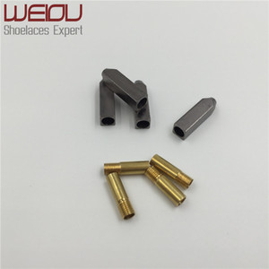 Weiou 4 unids 1 set 5 * 5 * 19mm Oro Plata Gunmetal Metal Aglet Tips Reemplazo de los cordones de reparación Cabeza Aglets termina DIY Kits de zapatillas de deporte