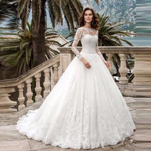 See Through Scoop A-ligne manches longues robe de mariée robe de dentelle Applique mariage 2020 Robes de mariée robe de Casamento