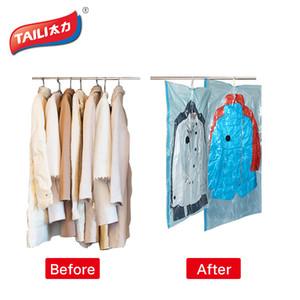 Venda por atacado- Sacos de vácuo para roupas penduradas guarda-roupa de armazenamento Organizador capa para roupas espaço Saver Bag Vacuum Package Storage Bag