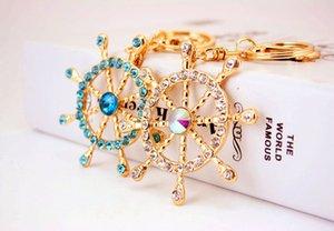 Criativo adorável chaveiro leme Moda conjunto broca leme forma anel chave New arrivel car bag pendant