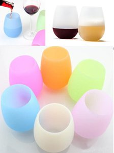 Wholesale 350pcs Rubber Wine Glass colorful Unbreakable Clear silica gel Water Cup silicone wine glass silicone wine cup Red glasses