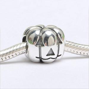 Authentic 100% 925 Sterlingsilber-Halloween-Kürbis-Charme-Korne Pandora Armband-Halskette DIY Schmuckherstellung