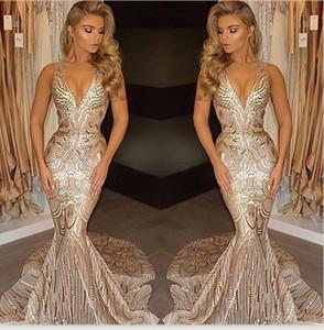 Nouveau luxe d'or de bal Robes de soirée sirène 2020 V Neck Sexy africaine longue Vestidos Robes Tenue de soirée Celebrity Robes 2K18
