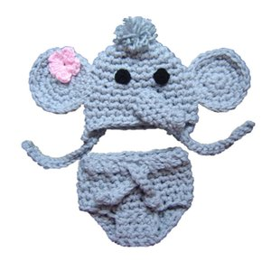 Uncinetto Baby Elephant Set, Handmade Knit Baby Boy Girl Elefante Cappello Set copripiumino, Neonato Costume di Halloween, Bambino neonato Foto Prop