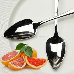 Cucchiaio di pompelmo 17cm manico lungo in acciaio inox cucchiai a dente di sega utensili da cucina E00681 FASH