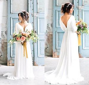 Sexy cuello en V vestidos de novia sin espalda griegos 2020 Robe de Mariage de Bohemia de la playa vestido de novia con mangas vestido de novia de País