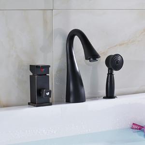 Оптовая и розничная одноразовая водопроводная ванна для ванной комнаты с ручным распылителем Tap Deck Mounted Oil Rubbed Bronze