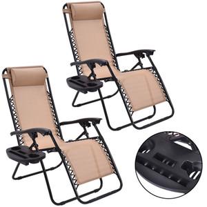 2PC gravedad cero Sillas titular Salón Patio plegable reclinable Beige W / Copa
