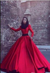 Bourgogne Rouge Manches Longues Robes De Bal Musulman 2017 Arabe Nouvelle Arrivée Formelle Robes De Soirée Bijou Rouge A-ligne De Soirée Porter avec Balayage Train