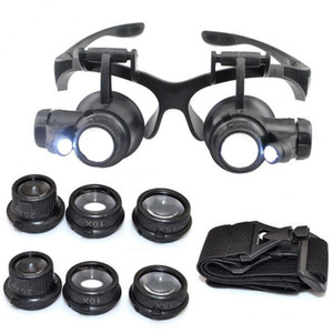 Caliente 10X 15X 20X 25X lupa Luces LED dobles Eye Glasses Lente Lupa lupa reloj Joyero herramientas de reparación