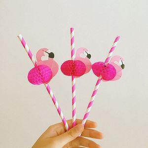 Оптово 25PCS Симпатичный мультфильм Hot Pink Honeycomb фламинго Красочные полосы бумаги трубочкой Bird Стик для свадьбы украшения партии