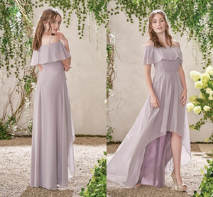 Hola Lo A Line Vestidos de dama de honor Lavanda 2017 Espaguetis Ruffles Gasa Vestidos de dama de honor Bateau Beach Evening Party Dress For Summer