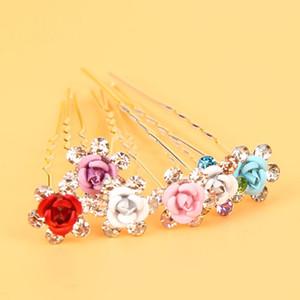 10Pcs Rose RHINESTONE Forcelle a forma di U Clear Crystal Wedding Capelli da sposa Prom Pins Pin multi colore
