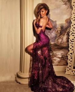 Sexy Sirena Viola Prom Dresses 2018 Off spalla paillettes Appliques abiti da sera Backless Charme anteriore Split abito formale da partito