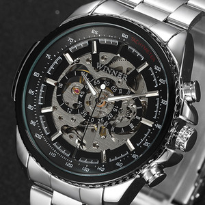 Winner Skeleton Mechanical Watch Luxury Men Black stainless steel Fashion Casual Military Brand Sports Watches Relogios Masculino