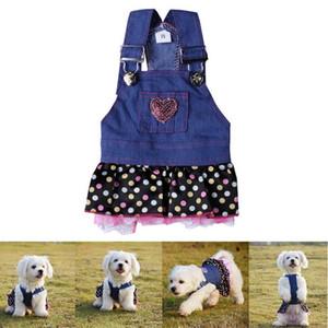 Pet Dog Denim Jean Jupe Robe Doggie Puppy Costume Vêtements main Paillettes Sweet Heart Pocket Lace Hemline