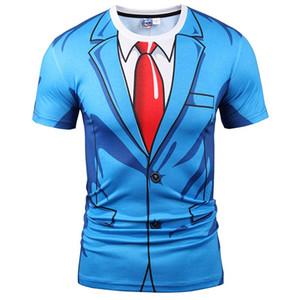 T-shirts 3D T-shirt chaud Hommes / Femmes Mode 3d Tshirt Imprimer Costume Bleu Veste D'été Tops T-shirts Faux Deux Pièces T-shirt